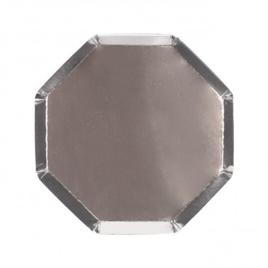 8 bordjes hexagon zilver