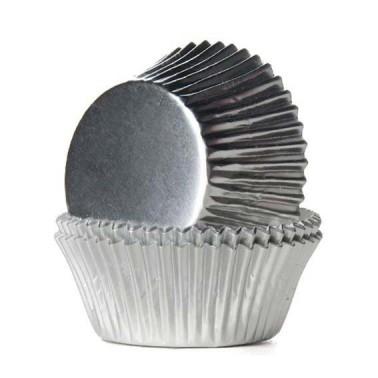24 cupcakevormpjes metallic zilver