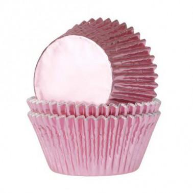 24 cupcakevormpjes metallic roze