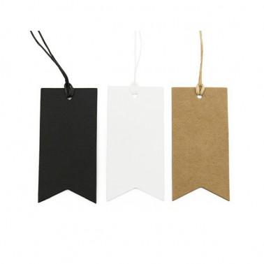 5 labels langwerpig kleur wit