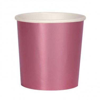 8 bekertjes roze metallic