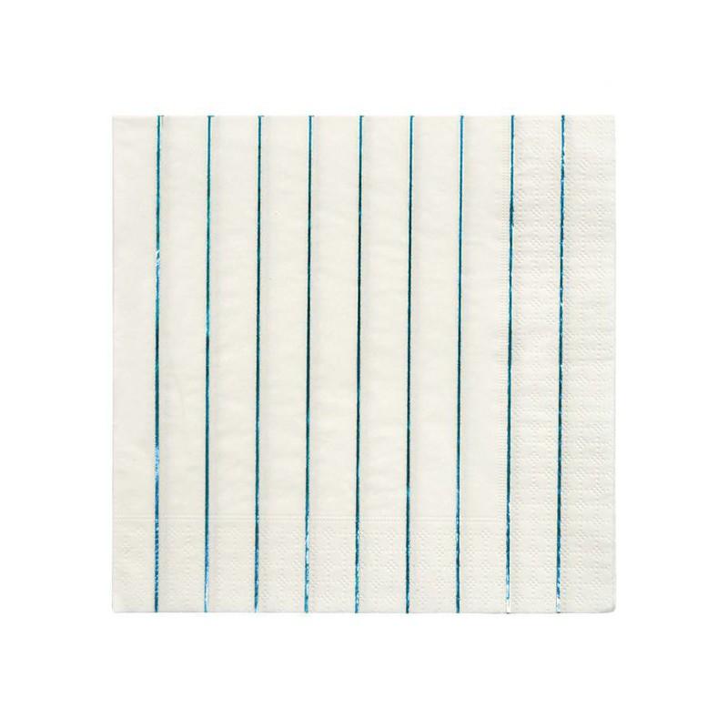 16 servetten streepjes blauw metallic