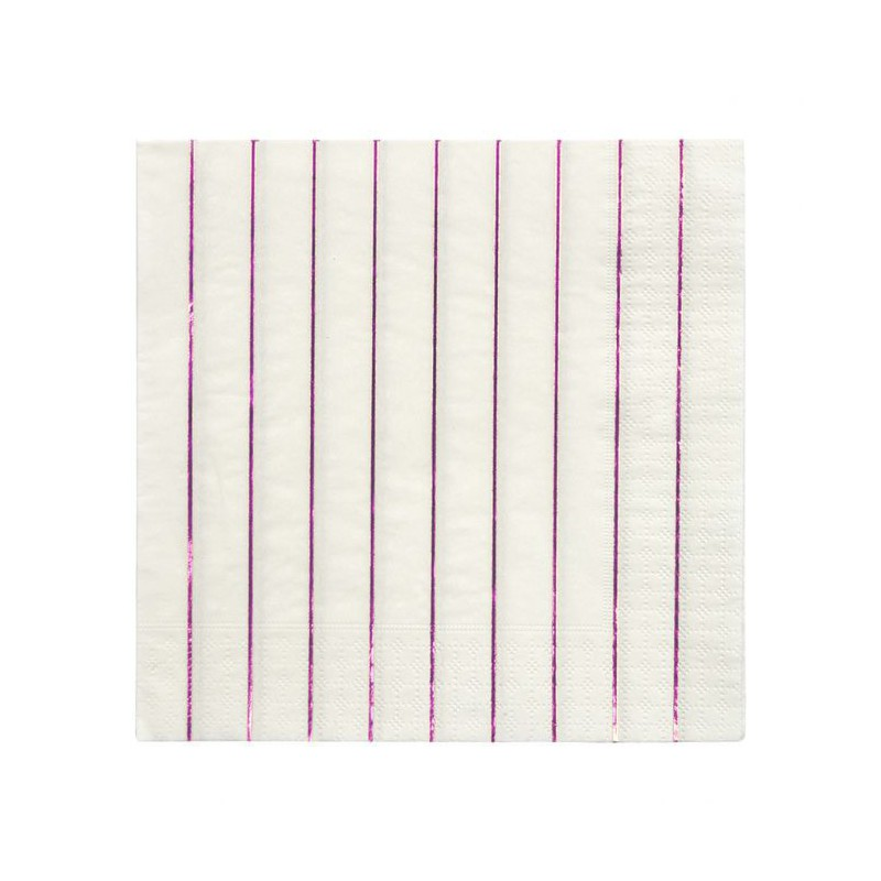 16 servetten streepjes roze metallic