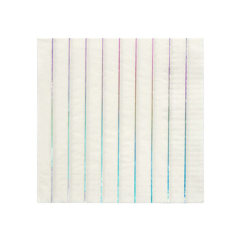 16 servetten streepjes iriserend