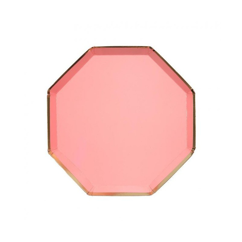 8 bordjes hexagon levendig koraal