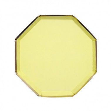 8 bordjes hexagon lichtgeel