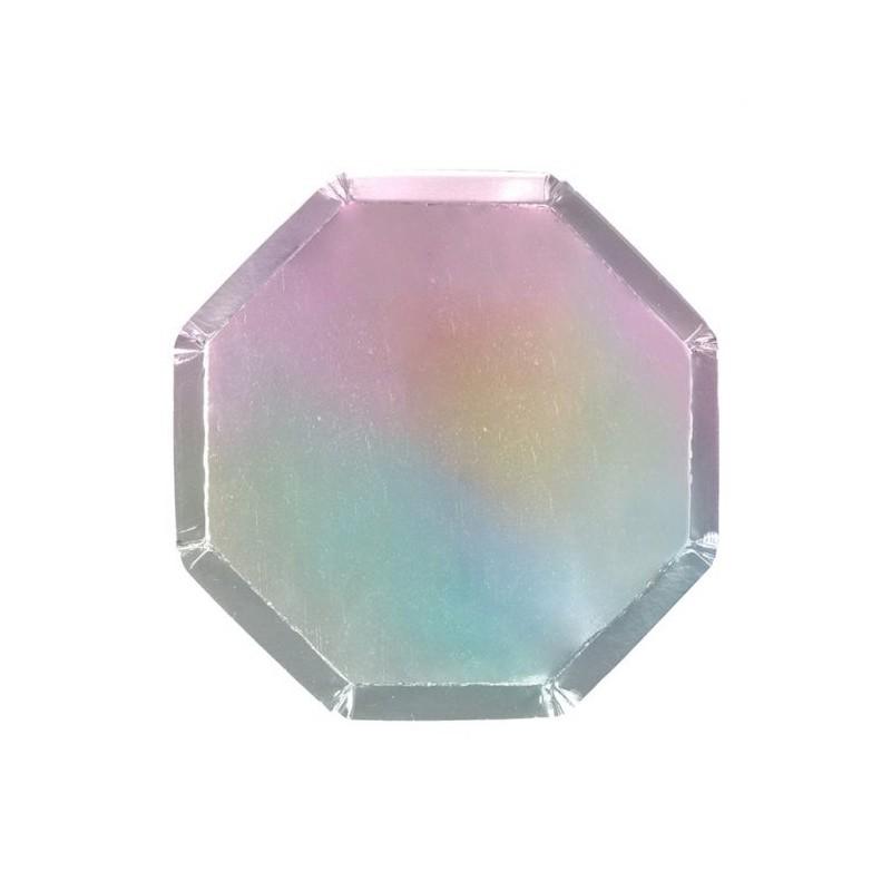 8 bordjes hexagon iriserend