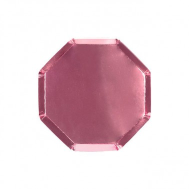 8 bordjes hexagon smal roze metallic