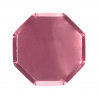 8 bordjes hexagon roze metallic