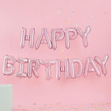 ballonslinger 'happy birthday' roze