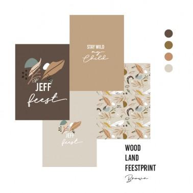 feestprint woodland bruin