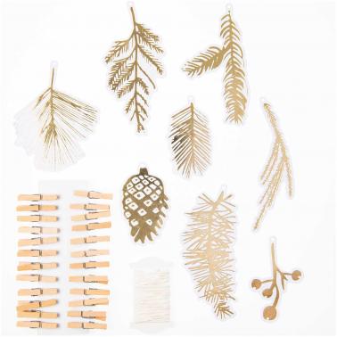 24 labels goudfolie dennen met wasknijpertjes