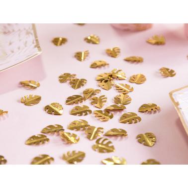 15gr prachtige metalen goudkleurige confetti's van tropische monstera bladeren dankzij een 3D centraal nerf-effect