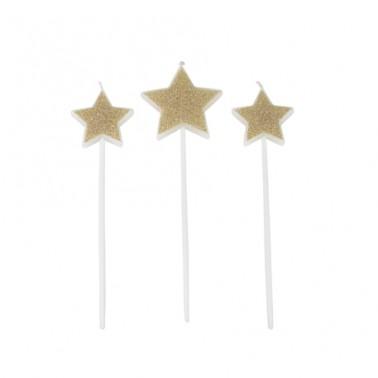 3 kaarsjes sterren glitter goud